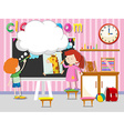 Boy and girl drawing and paintin in classroom vector image