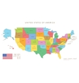 Colored united states map with names and capitals vector image