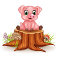 Cartoon adorable baby pig sitting on tree stump vector image vector image