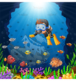 cartoon diver under the sea vector image