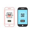 two phones scanning qr code vector image