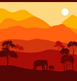 landscape with elephants vector image