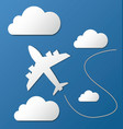 flying plane in clouds vector image vector image