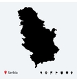 High detailed map of Serbia with navigation pins vector image