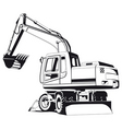 excavator outline vector image