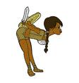 comic cartoon viking girl bowing vector image