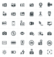 black camera icon set on gray vector image