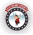 parkour extreme sport urban background label vector image