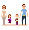 happy cartoon family with small kids vector image