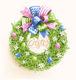 easter festive grass wreath with bow egg flower vector image