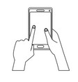 hand holing smartphone touching screen vector image