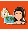 woman map world global travel vector image