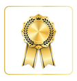 Award ribbon gold icon laurel wreath crown vector image