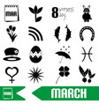March month theme set of simple outline icons vector image