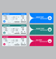 Set of tickets airplane bus and train travel vector image