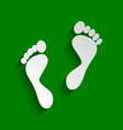foot prints sign paper whitish icon with vector image