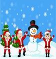 Happy children cartoon in Santa Costume vector image vector image
