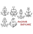 Sketches of old heraldic anchors with ribbons vector image vector image