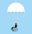 disabled skydiver isolated wheelchair on vector image
