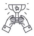 winner cuptrophy in handschampion victory vector image