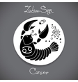 Cancer zodiac sign of horoscope circle emblem in vector image