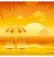 Sunset beach background with sea chairs and vector image