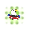 Bald eagle with USA flag icon comics style vector image
