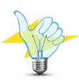 hand light bulb vector image