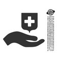 hand offer medical shield icon with men bonus vector image