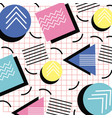 memphis style pattern triangle circle and square vector image