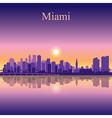 Miami city skyline silhouette background vector image