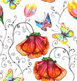 Watercolor seamless floral vector image