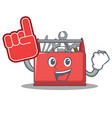 with foam finger tool box character cartoon vector image