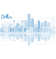 Outline Dallas Skyline with Blue Buildings vector image