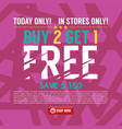 buy 2 get 1 free background banner vector image