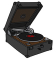 Retro portable mechanical gramophone vector image