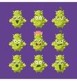 Cactus Cartoon Character Set vector image vector image