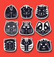 Set of cute doodle cats Character sketch cat vector image