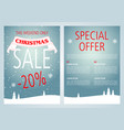 christmas sale flyer design with light blue color vector image