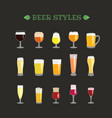 different beer glasses style collection vector image