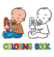 funny small baby sitting with dummy coloring book vector image