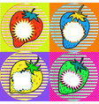 pop art strawberry with speech bubbles vector image