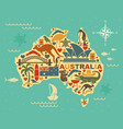 stylized map of australia with the symbols of vector image