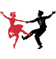 Rockabilly couple dancing silhouette vector image
