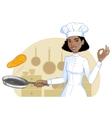 African american cook girl tosses pancake in pan vector image