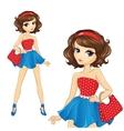 Brunette Retro Style Girl vector image