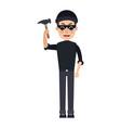 cyber hacker holding hammer broken security vector image