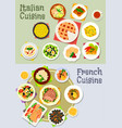 french and italian cuisine dinner icon set vector image