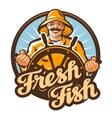 fresh fish fisherman at the helm of a fishing vector image