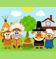 thanksgiving day background with funny animals vec vector image